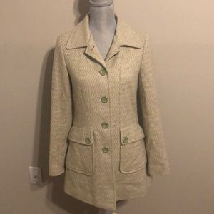 Forever 21 Lime Green Tweed Long Pea Coat